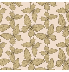 Seamless background with butterflies vintage color vector