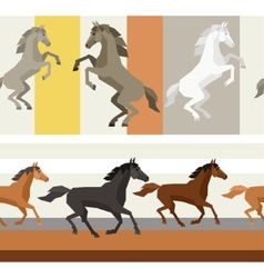 Seamless patterns with horse in flat style vector