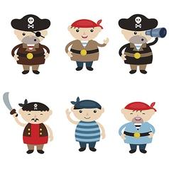 Set of cute cartoon pirates vector