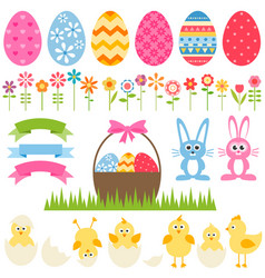 set of elements for easter design vector image vector image