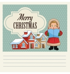 Singing cartoon of christmas carol design vector