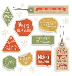 Stickers and Labels for Christmas and New Year vector image vector image