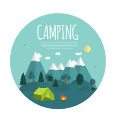 Summer camping nature background in modern flat vector