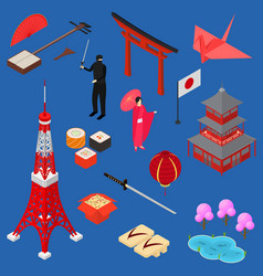 symbol of japan icon set isometric view vector image vector image