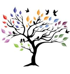 Tree color birds vector