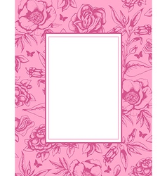 vintage pink background with frame and flowers vector image
