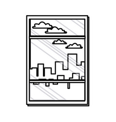 Window with view building urban skyline line vector