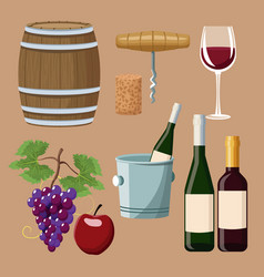 Winery elements and icons vector