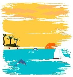 Summertime on beach vector image