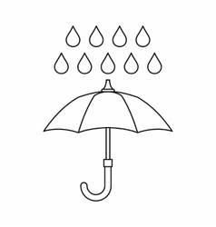 Umbrella and rain icon outline style vector