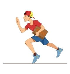 Express courier delivery of pizza A young man in vector image