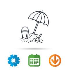 beach umbrella in sand icon bucket with shovel vector image