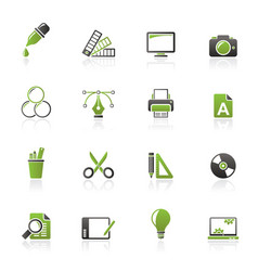 graphic design industry icons vector image