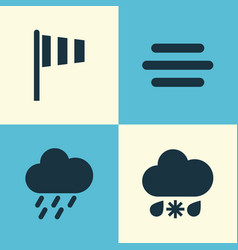 Meteorology icons set collection of flag haze vector