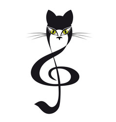 Cat treble clef cat stylized tattoo vector