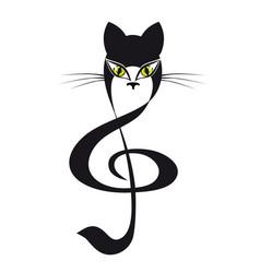 cat treble clef cat stylized tattoo vector image