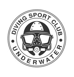 Underwater diving sport club vintage logo black vector