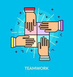 Flat teamwork and partnership concept vector
