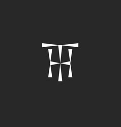 hipster initials th logo mockup from triangles vector image