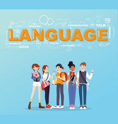 A group of student studies many languages vector