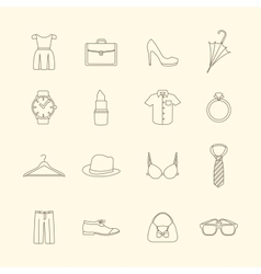 Fashion and clothes accessories icons vector