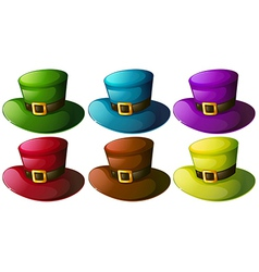 Six colourful hats vector image