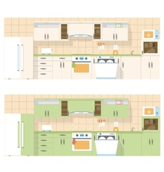 Kitchen overlooking the front in a flat layout vector