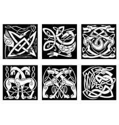 Celtic animals decorated irish ornament vector