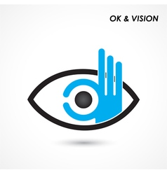 Ok hand with eye sign vector
