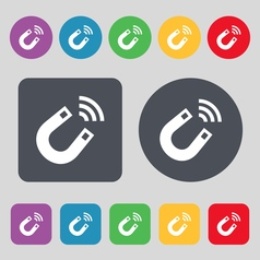 Magnet icon sign a set of 12 colored buttons flat vector