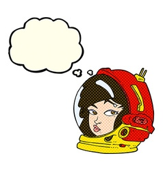 Cartoon female astronaut with thought bubble vector