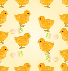 Seamless texture easter chicks and easter eggs vector