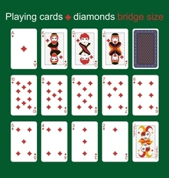 Playing cards diamonds bridge size vector