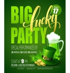 Lucky party poster st patricks day vector