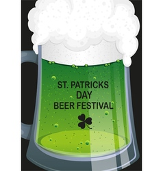 Glass mug of green beer vector