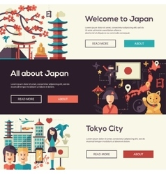 Japan travel banners set with landmarks famous vector
