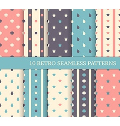 10 retro different seamless patterns polka dots vector