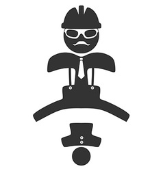 Hipster engineer jumping pictograph isolated on vector