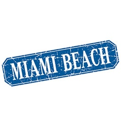 Miami beach blue square grunge retro style sign vector