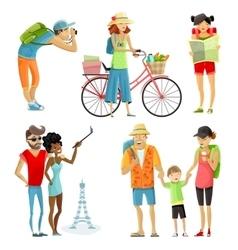 Traveling people cartoon set vector