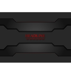 Black tech sci-fi background with red lines vector