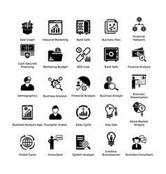 Business and finance glyph icons set 5 vector