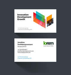 Business card template ith colourful vector