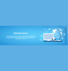 Business lunch break concept web horizontal banner vector