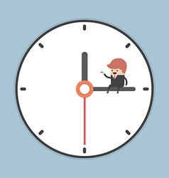 Businessman sitting on minute hand of clock with a vector