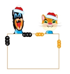 Cat and dog with poster vector