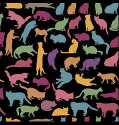 cats seamless pattern kitten silhouettes pet vector image vector image