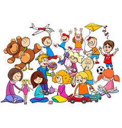 children group playing with toys cartoon vector image vector image