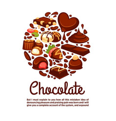 Chocolate heart poster template of confectionery vector