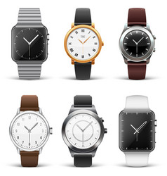 Classic watches isolated on white set vector image
